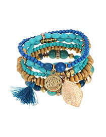 Elegant Blue Leaf&tassel Pendant Decorated Multilayer Bracelet