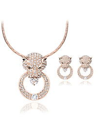 Exaggarted Gold Color Leopard Head Shape Pendant Decorated Jewelry Sets