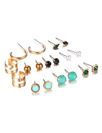Sweet Green Gemstone Decorated Simple Earring Sets(9 Pairs)