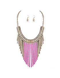 Fashion Pink Metal Chain Tassel Pendant Decorated Collar Jewelry Sets