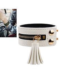 Vintage White Tassel Pendant Decorated Zipper Design Bracelet