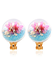 Fashion Blue Flower&diamond Decorated Transparent Ball Shape Earrings