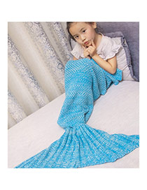 Fashion Blue Pure Color Decorated Mermaid Shape Simple Blanket(large)