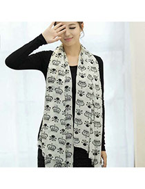 Fashion White Crown Shape Pattern Decorated Simple Scarf