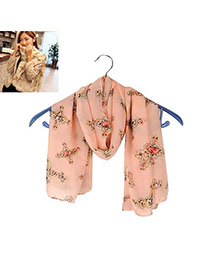 Fashion Pink Cross Shape Pattern Decorated Simple Scarf