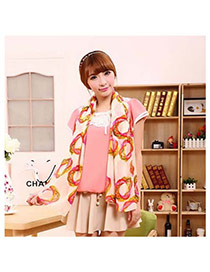 Fashion White Flower Shape Pattern Decorated Simple Scarf