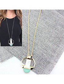 Personalized Gold Color Semicircle Shape Gemstone Pendant Decorated Long Necklace