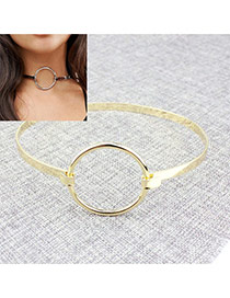 Exaggerated Gold Color Round Shape Decorated Pure Color Collar Necklace