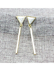 Personalized White Vertical Shape Pendant Decorated Triangle Shape Earrings