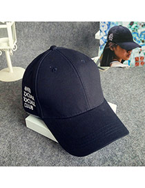 Fashion Black Letter Pattern Decorated Pure Color Simple Baseball Hat