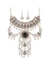 Trendy Silver Color+black Hollow Out Crescent Moon Decorated Multi-layer Jewelry Sets