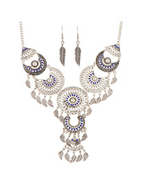 Trendy Sapphire Blue Hollow Out Leaf Pendant Decorated Symmetric Jewelry Sets