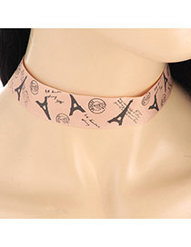 Fashion Fleshcolor Iron Tower Pattern Decorated Short Chain Necklace