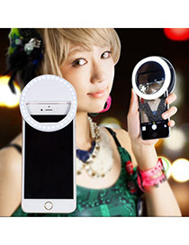 Trendy White Hollow Out Round Shape Design Simple Led Beauty Selfie Timer(without The Battery)