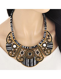 Fashion Black Hollow Out Round Shape Decorated Short Chain Collar Necklace