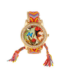 Sweet Red+yellow Girl&butterfly Pattern Decorated Weaving Strap Simple Watch