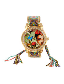 Sweet Green+army Green Girl&butterfly Pattern Decorated Weaving Strap Simple Watch