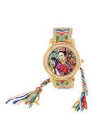 Lovely Green+red Girl&monkey Pattern Decorated Weaving Strap Simple Watch