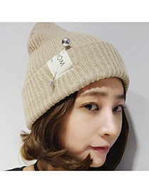 Fashion Khaki Pearl Decorated Pure Color Design Simple Knitting Hat