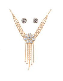 Elegant Gold Color Flower Shape Decorated Double Layer Tassel Jewelry Sets