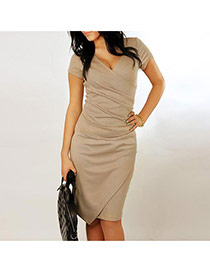 Sexy Coffee Pure Color Design V Neckline Short Sleeve Larger Size Dress
