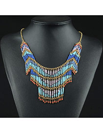 Vintage Multi-color Multi-layer Bead Pendant Decorated Short Chain Simple Necklace