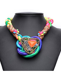 Fashion Multi-color Triangle Shape Gemstone Decorated Hand-woven Necklace