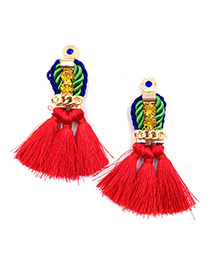 Exaggerated Red Long Tassel Pendant Decorated Simple Earrings