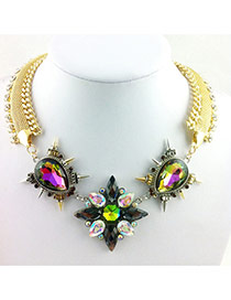 Exaggerate Multi-color Oval Shape Diamond Decorated Short Chain Necklace