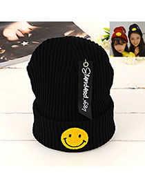 Lovely Black Smiling Face Shape Pattern Decorated Knitted Hat