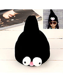 Lovely Black Pure Color Design Big Eyes Decorated Baby Knitted Hat