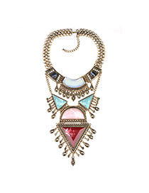 Exaggerate Gold Color Geometric Shape Gemstone Decorated Hollow Out Necklace