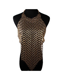Fashion Gold Color Pure Color Decorated Hollow Out Body Chain