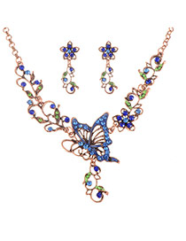 Delicate Blue Hollow Out Butterfly Decorated Jewelry Sets