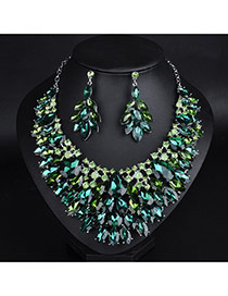 Fashion Green Whaterdrop Shape Diamond Decorated Jewelry Sets