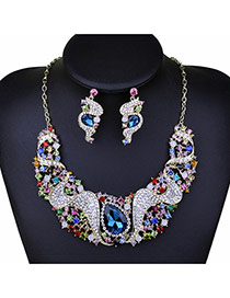 Exaggerate Borland Big Oval Shape Diamond Decorated Short Chain Jewelry Sets