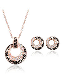 Temperament Light Rose Gold Round Shape Pendant Decorated Long Chain Jewelry Sets