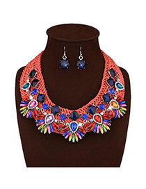 Bohemia Red Diamond Decorated Hand-woven Short Chain Jewelry Sets