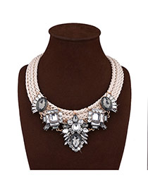 Fashion White Diamond Decorated Hand-woven Short Chain Necklace