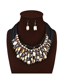 Fashion Black Square Shape Decorated Hand-woven Simple Necklace