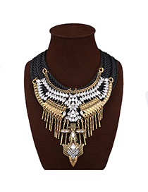 Luxury Gold Color Metal Tassel &diamond Decorated Short Chain Necklace