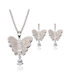 Lovely Silver Color Diamond Decorated Butterfly Pendant Decorated Jewelry Sets
