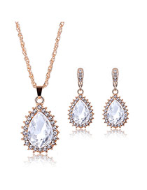 Delicate Light Blue Oval Diamond Pendant Decorated Long Chain Jewelry Sets