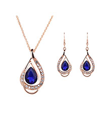 Elegant Blue Oval Diamond Decorated Hollow Out Jewelry Sets