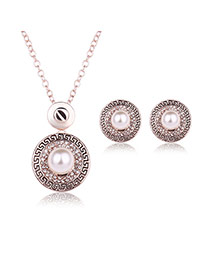 Fashion Rose Gold Pearl Decorated Round Shape Pendant Long Chain Jewelry Sets