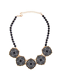 Elegant Black Hollow Out Flower Pendant Decorated Beads Chain Necklace