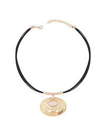 Fashion Gold Color Oval Shape Pendant Decorated Multilayer Necklace