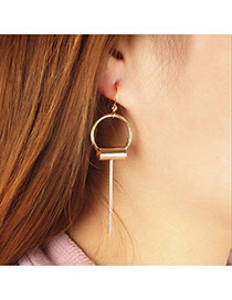 Fashion Gold Color Vertical Shape Pendant Decorated Pure Color Earrings