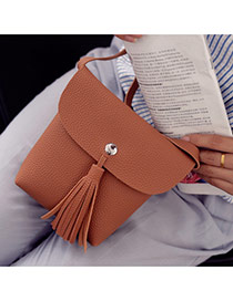 Fashion Brown Tassel Pendant Decorated Pure Color Shoulder Bag