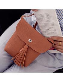 Fashion Brown Tassel Pendant Decorated Pure Color Shoulder Bag
